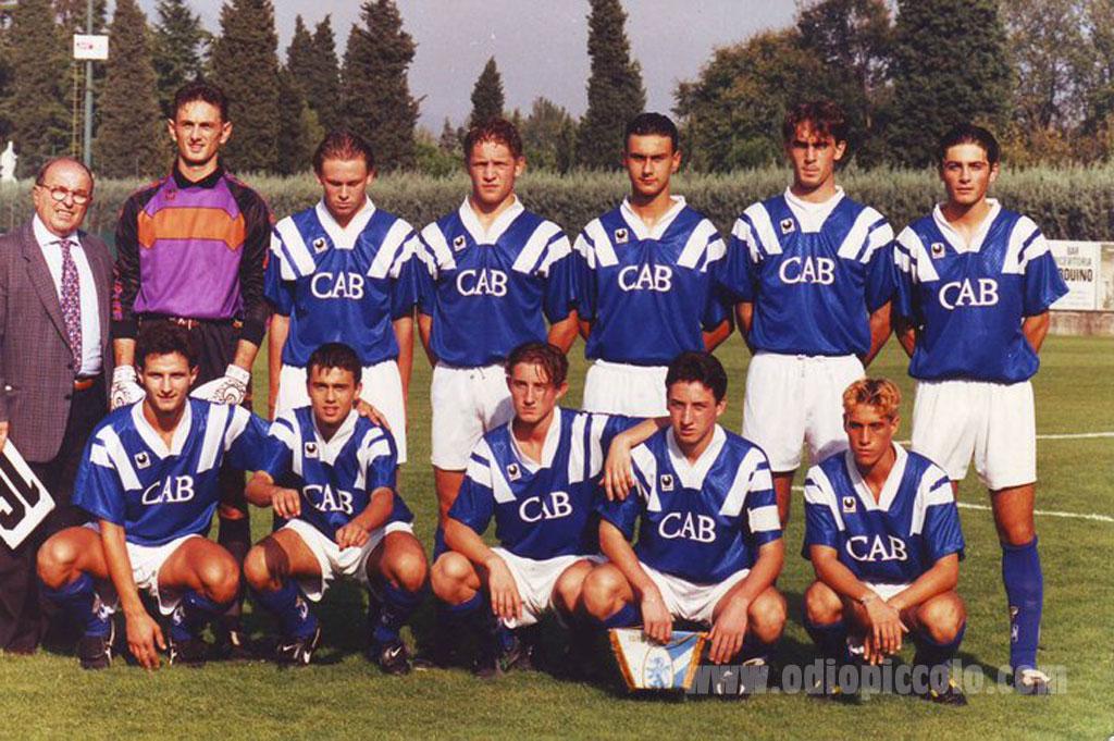 Una formazione del Brescia: In piedi: Peano, Tagliani, Forlani, Bonazzoli, Faini Giacomo. Accosciati: Archetti, Diana, Ferrari, Pirlo, Bono, Borra.