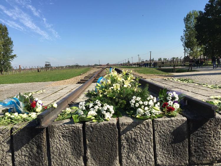 monumento alla memoria delle vittime, posto nella zona dei crematori. Voltandosi indietro si vede appena in lontananza la costruzione dell'ingresso.